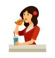 italian woman with rose in hair eats pizza vector image