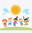 kids playing in the sun vector image