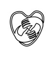love heart hand commitment teamwork together vector image vector image