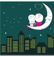 Loving couple man and woman sitting on the moon in vector image vector image