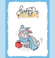 merry christmas postcard happy holidays with bunny vector image vector image