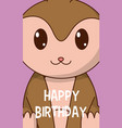 monkey cute birthday card vector image vector image