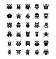 monster characters glyph icons vector image