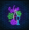neon glowing sign of wine store in circle frame vector image vector image
