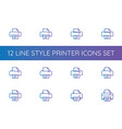 printer symbol icon pixel perfect outline line vector image