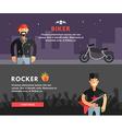 Profession concept biker and rocker flat design