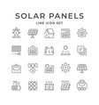 set line icons solar panels vector image vector image