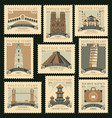 set postage stamps on travel theme vector image vector image