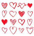 set red hand drawn hearts on white background vector image vector image