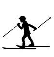 silhouette girl winter sport ski vector image vector image
