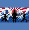 silhouette japan samurai with wave rising sun flag vector image