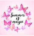 summer background with pink butterflies vector image