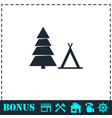 tourist tent icon flat vector image vector image