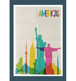 Travel Americas landmarks skyline vintage poster vector image vector image