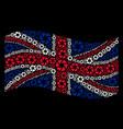 waving british flag pattern of shutter items vector image