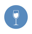 wineglass with wine placed in blue circle icon vector image vector image
