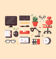 workplace supplies set vector image vector image