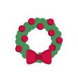 wreath balls bow decoration happy christmas icon vector image vector image