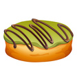 Doughnut with green and chocolate frosting vector image