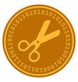 scissors digital coin vector image