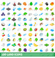 100 land icons set isometric 3d style vector image vector image