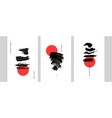 abstract japanese art design set hand painted vector image
