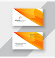 abstract orange business card template vector image vector image