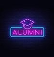 alumni neon sign graduation neon symbol vector image vector image