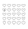 black cute line and isolated heart icons set vector image