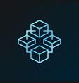 blockchain technology blue line concept vector image vector image