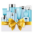 blue cosmetics with golden bow vector image vector image