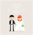Bride and groom holding hands on invitation card vector image