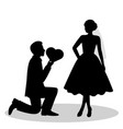bride and groom silhouette vector image vector image