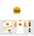 burger logo design with business card and t shirt vector image