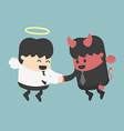 Devil and angel shake hands vector image