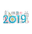 education 2019 word trendy composition concept vector image vector image