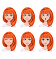 face expressions of a redhead woman different vector image vector image
