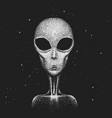 face of alien in space vector image vector image