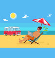 freelancer with laptop in recliner on sandy beach vector image vector image