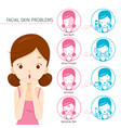 girl with facial skin problems and treatment icons vector image