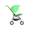 green color bacarriage kid pram with vector image vector image