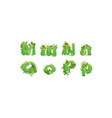 green leaves font stylish vector image vector image