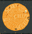 Halloween hand lettering on the round background vector image vector image