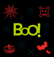 Halloween icons and text in neon colors on black vector image vector image