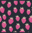 hand drawn strawberry seamless pattern vector image