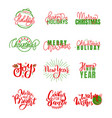 happy holidays warm wishes merry bright lettering vector image