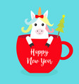happy new year unicorn horse sitting in red vector image