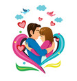 happy valentine day concept couple vector image vector image