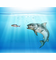 hunting fish realistic background vector image vector image