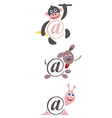 international sign email animals color vector image vector image